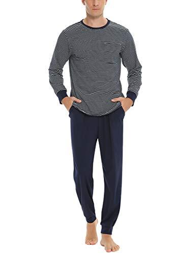 Sykooria Ropa de Dormir de algodón para Hombre Conjuntos de Pijama Manga Larga de Invierno 2 Piezas Ropa de Dormir Camisa Henley y Pantalones Largos Suaves