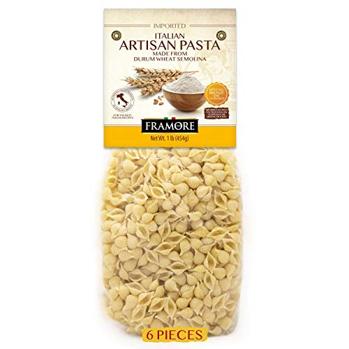 FRAMORE Small Shell Pasta Conchigliette Authentic Italian, Artisan Made, Dried in a bag, Imported, Gourmet