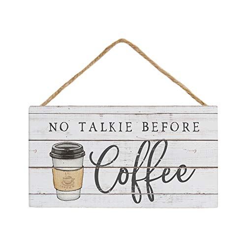 Simply Said, INC Petite Hanging Accents 3.5' x 6.5' Wood Sign - No Talkie Before Coffee