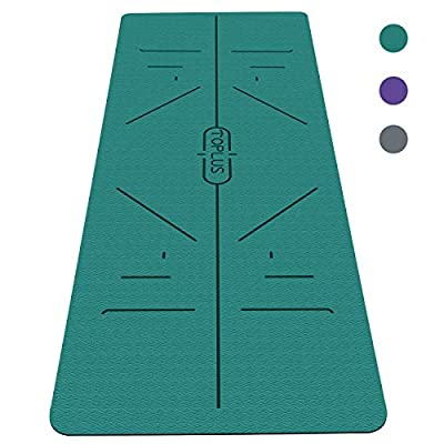 TOPLUS Yoga Mat, Body Alignment System, Extra Large Eco Friendly Non-Slip Exercise & Fitness Mat with Carrying Strap, Workout Mat for All Type of Yoga, Pilates and Floor Exercises