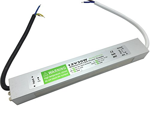 YXH Transformateur Electrique, 30 Watt, Alimentation Ac 220V-DC12V Convertisseur étanche IP67 Conducteur Pour éclairage Interieur, LED ruban, Modules LED et Multi-usage éclairages Exterieur