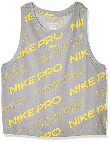 NIKE W Nk Dry Tank Db Pro Crop para Mujer, XL, Particle Grey/Speed Yellow