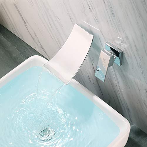 Haoxin waterkraan, waterval, wandmontage, wastafelarmatuur voor inbouw, enkele handgreep, kraan, badkuip, messing, chroom