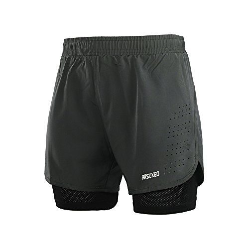ARSUXEO Herren Active Training Laufshorts 2 in 1 B179 Grau XL