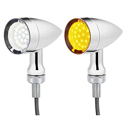 PBYMT 2PCS Motorcycle Bullet 24 LEDs Front Turn Signal White Amber Light SMD Blinker Indicator...