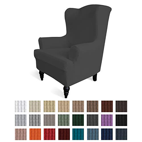 Easy-Going Stretch Wingback Chair Sofa Slipcover 1-Piece Sofa Cover Furniture Protector Couch Soft with Elastic Bottom Spandex Jacquard Fabric Small Checks(Wing Chair,Dark Gray)