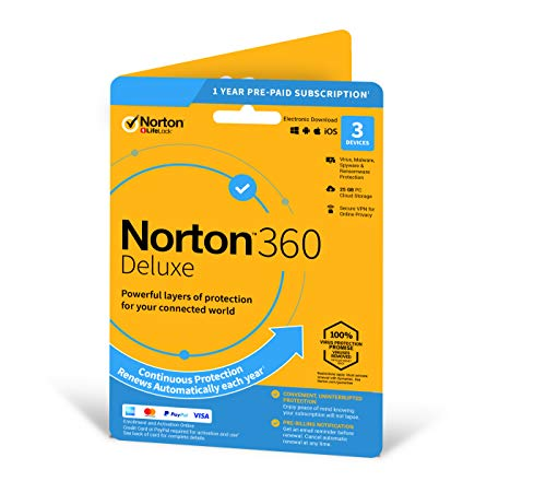 Norton 360 Deluxe 2020 | 3 Devices | 1 Year | Includes Secur
