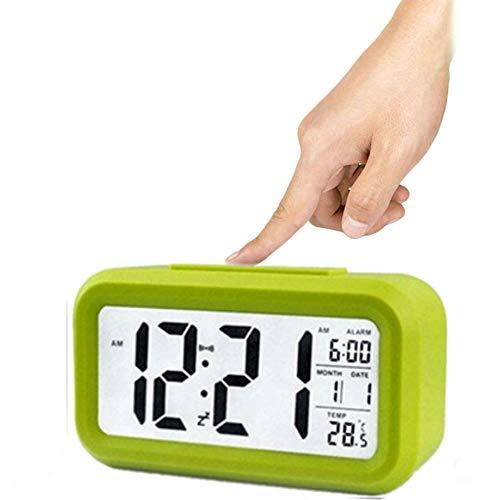 Winnes Wecker Digital, Großer HD Bildschirm Intelligente Nachtlicht Wecker Alarm Clock Für Kinder Jugendliche Mode Junge LED Hintergrundbeleuchtung Display LCD Digital Elektronische Wecker(Grün)