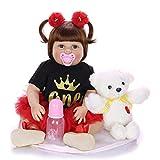 XYSQWZ Realistas Muñecas Reborn Baby Doll De Aspecto Real Ponderado Reborn Girl Doll 22 Pulgadas 1 Trajes Silicona Vinilo Ponderado Cuerpo De Algodón Set De Regalo 1214