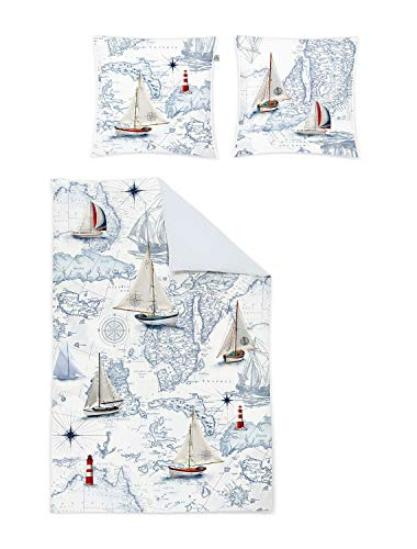 Irisette Mako-Satin Bettwäsche Juwel K Segelboot 1 Bettbezug 135x200 cm + 1 Kissenbezug 80x80 cm