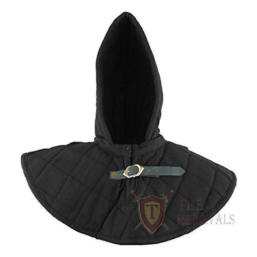The Medival Shop Gambeson Medieval Cotton Hood with Coller SCA Costume Armor – Black