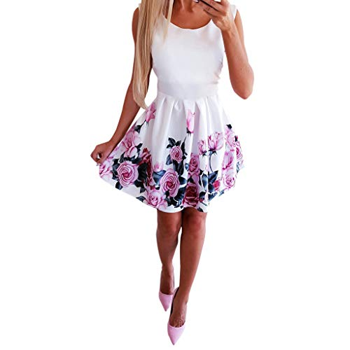 Lialbert Blumendruck Skaterkleid Schulterfreies Mit Volant-Saum Swing-Kleid Midikleid Blumenprint Schwingendes Mit ReißVerschluss Cocktail Party BindegüRtel Weiß