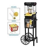 Nostalgia KPM200CTBK Vintage 2.5-Ounce Popcorn Cart with 5-Quart Bowl-45-Inches Tall, 2.5 oz, Black