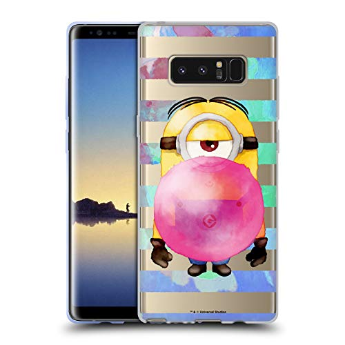 Official Despicable Me Stuart Bubble Gum Watercolour Minions Soft Gel Case Compatible for Samsung Galaxy Note8 / Note 8