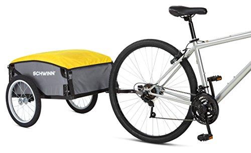 Schwinn Day Tripper Cargo Bike Trailer, Folding Frame, Quick Release Wheels, Yellow/Grey