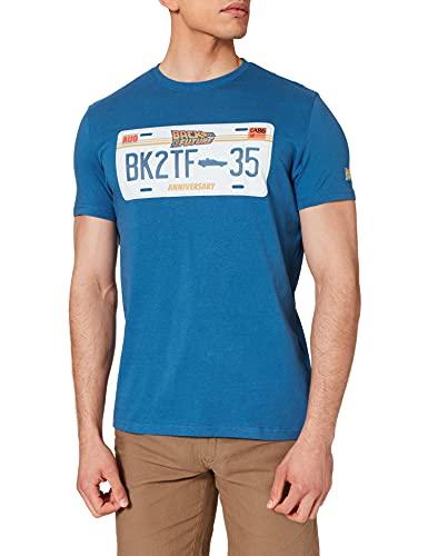 Springfield Camiseta MATRÍCULA Regreso AL Futuro, Azul Claro, M para Hombre
