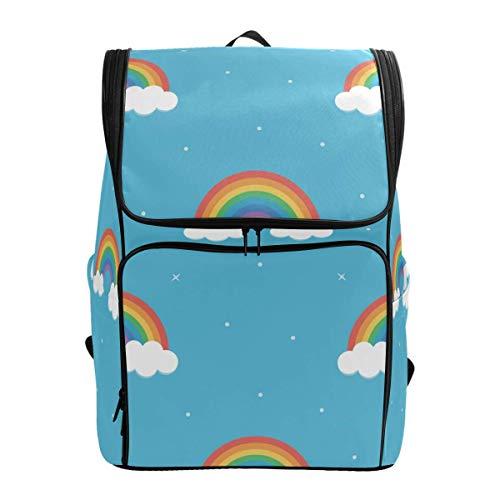 Laptop Rugzak Plezier Kleurrijke Regenboog Wolken Blauw Achtergrond Grote Capaciteit Tas Reizen Daypack