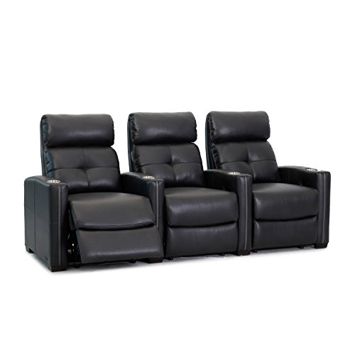 Octane Seating Cloud XS850 Home Theatre Chairs - Black Bonded Leather - Manual Recline - Straight Row 3 Seats - Space Saving Design