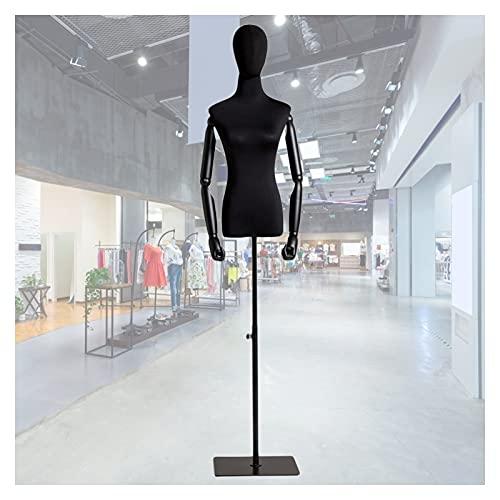HAIPENG Maniquí de Costura Busto Hembra, Apoyos del Modelo con Brazos Madera Y Cabeza, Escaparate Soporte Exhibición Ropa Altura Ajustable, 2 Tamaños (Color : A, Size : Medium)