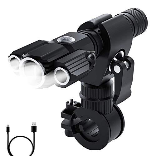 SHINEELI Aluminiumlegierung-Fahrrad-Frontleuchten, USB aufladbare Super helle LED-Fahrrad-Scheinwerfer, wasserdichte Fahrrad-Taschenlampe, mit 4 Modi