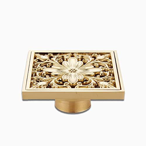 Feixunfan Bodenablauf Antique Copper Badewanne Duschrinne Platz Anti-Clog Abfluss for Küche Bad Keller (10 × 10 × 4,5 cm) für Badezimmer Duschraum Toilette (Color : Gold 2, Size : 10 x 10 x 4.5 cm)
