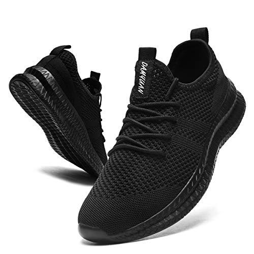 CAIQDM Schuhe Herren Laufschuhe Sneaker Outdoor Sportschuhe Turnschuhe männer Joggingschuhe atmungsaktiv Running Shoes Men Walking Schuhe Freizeitschuhe Fitness Schuhe, Schwarz, 45 EU