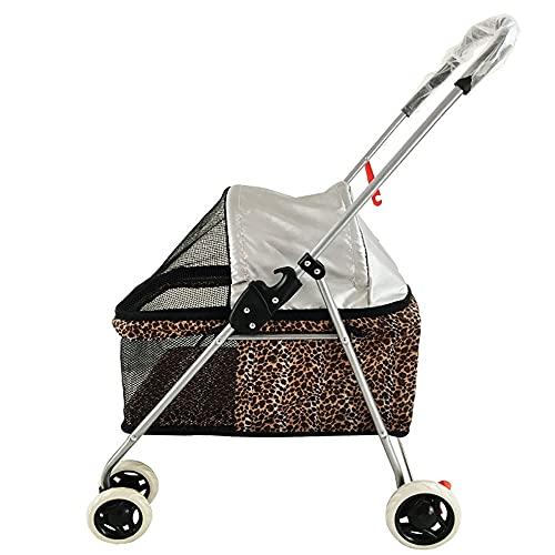 HNWNJ Haustierausstattung Leichter und tragbarer Faltbarer Kleiner Teddy-Outdoor-Ausflug Auto PET-Katzen-Kinderwagen-Kinderwagen (Color : Leopard Print)