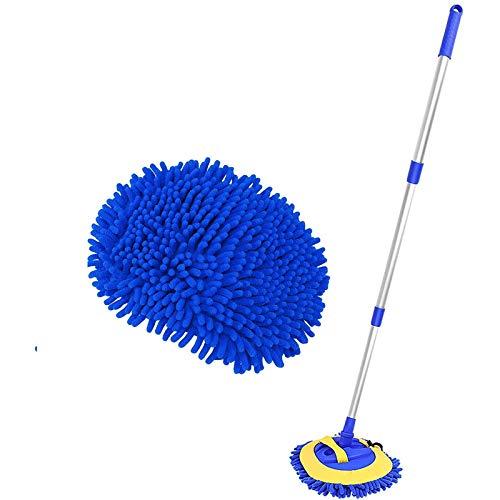 MTUPOC Autowasch-Mop-Mitt mit 23-48-Zoll-Teleskopgriff, um 360 Grad drehbarer Autowaschbürste mit Zwei Ersatz-Moppköpfen für die Auto- und Haushaltsreinigung