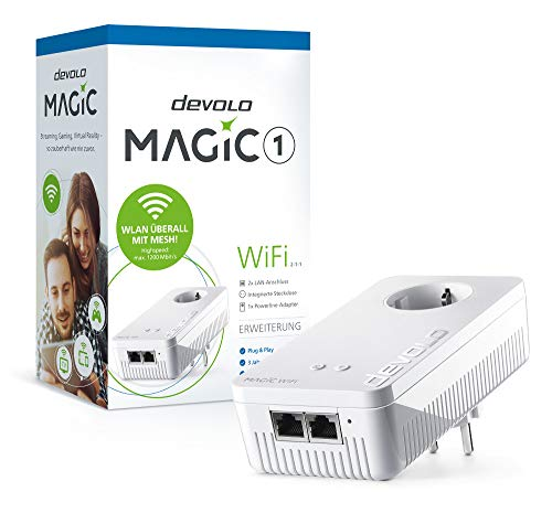 Devolo Magic 1 WiFi Ergänzungsadapter 2-1-1 (1200mbps Powerline + 2xLAN)