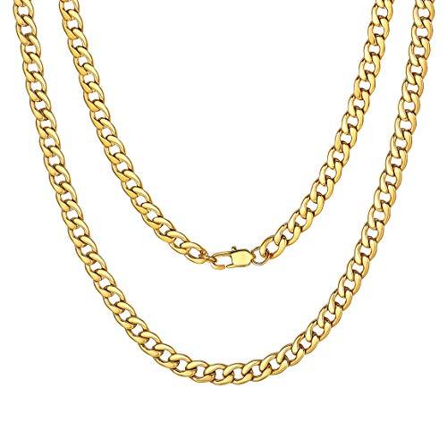 Collana a Catena a Maglia Cubana per Uomo Catena a Maglia Corta placcata Oro Delicato 22''/55cm
