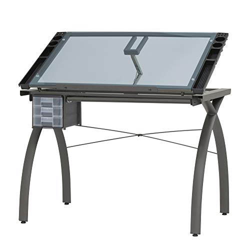 Futura Crafting, Drafting, Drawing Table with Adjustable Top, Pewter and Blue Glass