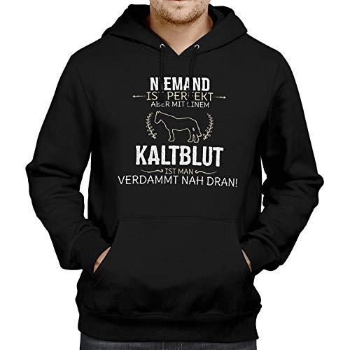 Fashionalarm Herren Kapuzen Pullover - Niemand ist perfekt - Kaltblut | Fun Lustig Hoodie Spruch Geschenk-Idee Pferd Reiten Reiter Reitsport, Schwarz XL