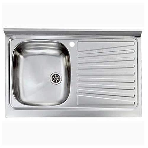 Lavello cucina in acciaio inox 1 vasca DX 80x50cm con gocciolatoio arredo 171602