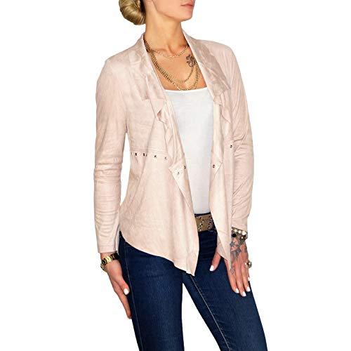 Dresscode-Berlin DB Damen Jacke im Boho Wildleder Look mit Wasserfall Kragen in Camel, Rose und beige (XL / 42, Rose)