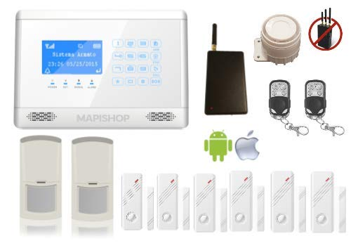 Mapishop Erika Antifurto Allarme Casa Kit nuovo modello 2019, Combinatore GSM wireless senza fili app Gratuita ios/android Touch screen, video...