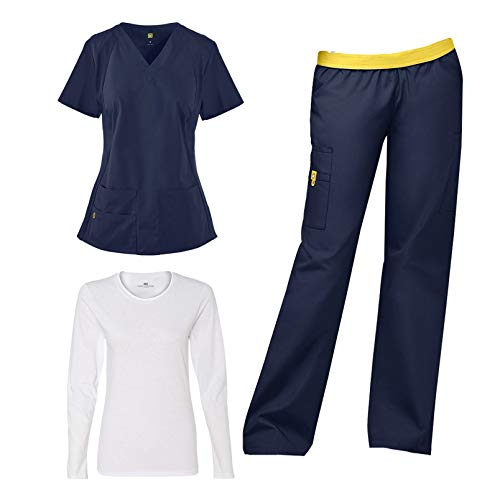 WonderWink Origins Women's Medical Uniforms Scrub Set Bundle - 6096 Lima 5 Pocket V-Neck Top & 5016 Quebec Elastic Cargo Pants & Marc Stevens Underscrub Tee (Navy - XX-Large/XL Petite)