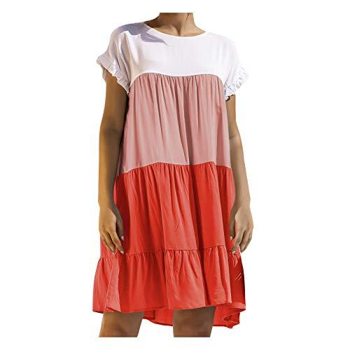 YANFANG Vestidos Playa,Vestido Suelto a Juego de Color de Manga Corta con Cuello Redondo para Mujer, Orange,XXL