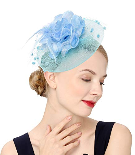 Fascinators Hats for Womens 50s Headwear with Veil Flower Cocktail Wedding Tea Party Church Derby Hat(1-4-light Blue)