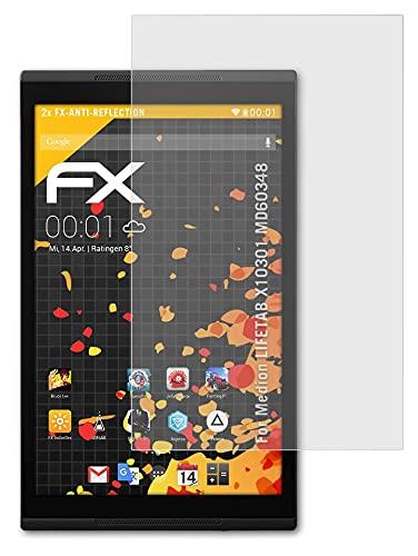 atFolix Panzerfolie kompatibel mit Medion LIFETAB X10301 MD60348 Schutzfolie, entspiegelnde & stoßdämpfende FX Folie (2X)