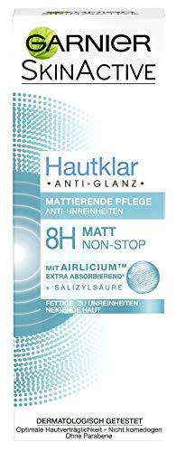 Garnier Hautklar Anti Glanz Mattierende Pflege Gesichtscreme / Tagescreme für 8h Non-Stop Matt-Effekt (mit Airlicium & Salizylsäure, ohne Parabene) dermatologisch getestet, 6er Pack - 50 ml