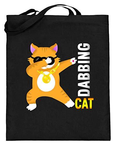 Dabbing Cat - Dabbin Katze Dab zonnebril Hipster - eenvoudig en grappig design - jute zak (met lange handvatten)