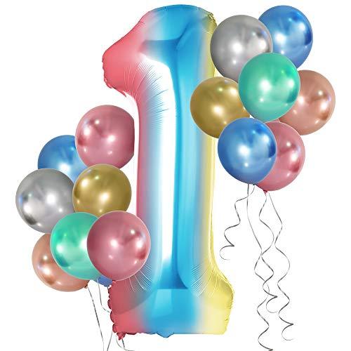 Simpeak Globo Número 1, Globo de Cumpleaños Niño 1 año + 24 Globos Multicolores + 1 Rollo de Cinta Láser Plateado + 1 Pajita, Set Globos Decoración para Fiesta Cumpleaños Party