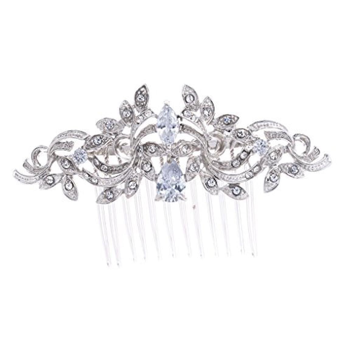 慣習花婿団結するSEPBRIDALS Crystal Rhinestone Leaves Hair Comb Hair Pins Bridal Wedding Hair Accessories Jewelry 4012R [並行輸入品]