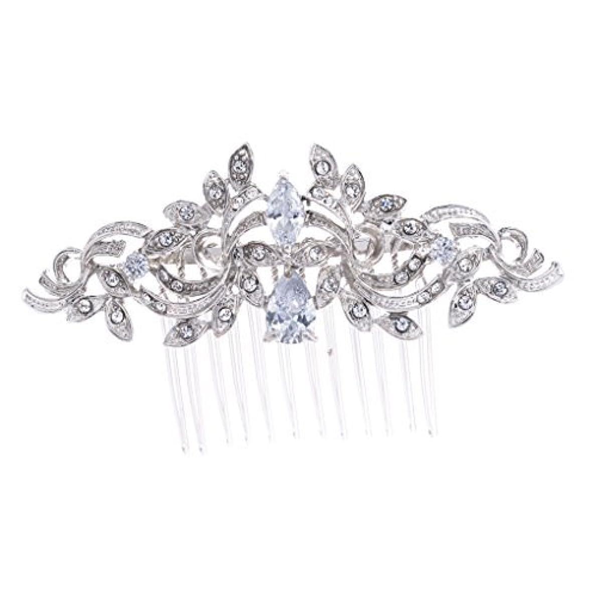 いたずらな明るくする十分ではないSEPBRIDALS Crystal Rhinestone Leaves Hair Comb Hair Pins Bridal Wedding Hair Accessories Jewelry 4012R [並行輸入品]
