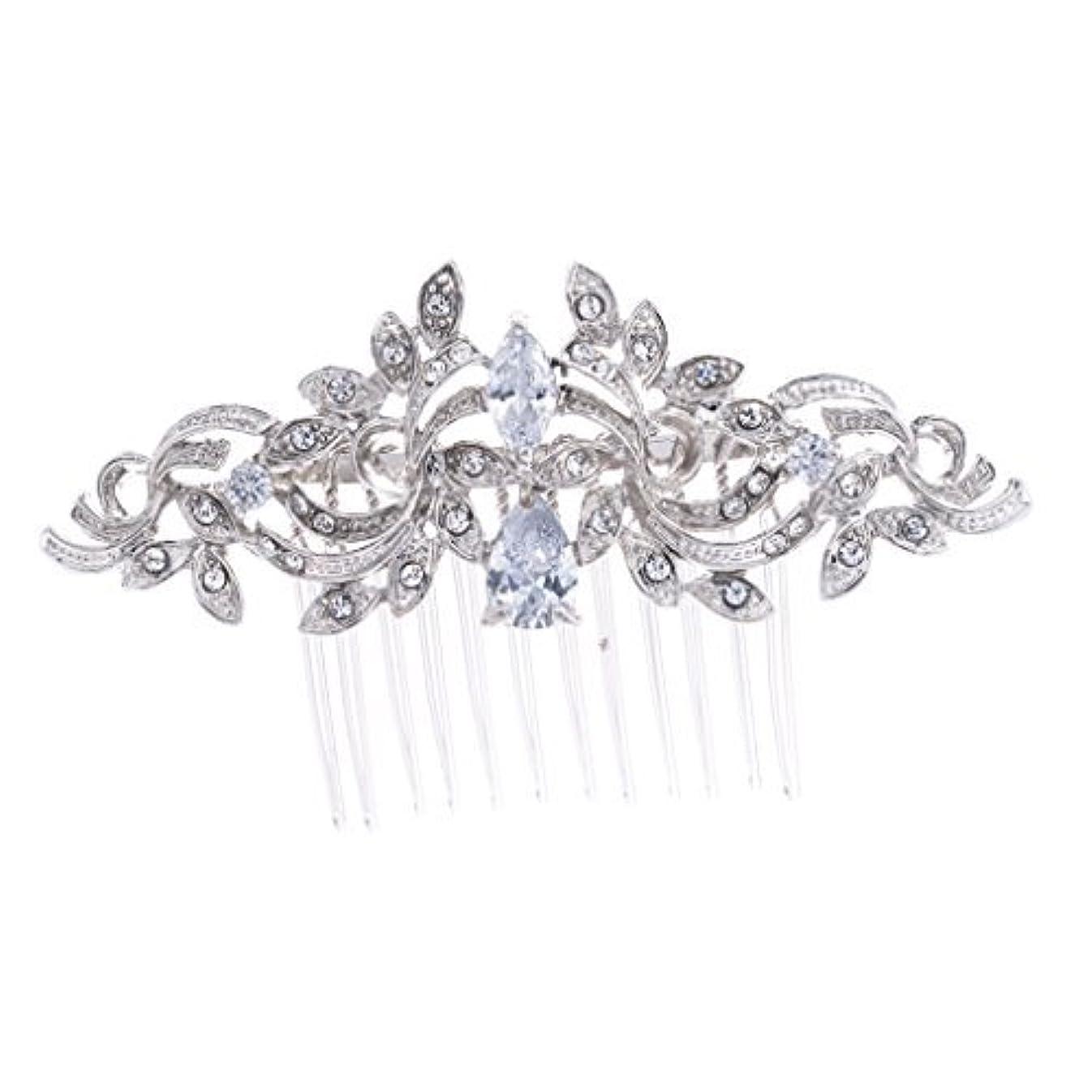 アルネ節約平行SEPBRIDALS Crystal Rhinestone Leaves Hair Comb Hair Pins Bridal Wedding Hair Accessories Jewelry 4012R [並行輸入品]