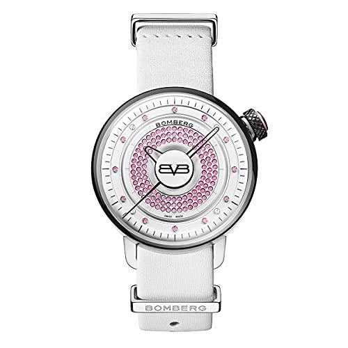 Bomberg Reloj analógico de cuarzo unisex BB-01 rosa con piedras preciosas