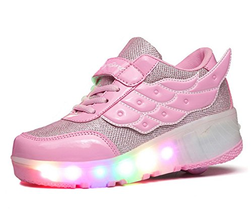 FOUPLER Boy Girl's LED Light Up Roller Skate Shoes Wheels Wings Outdoor(Little Kid/Big Kid)
