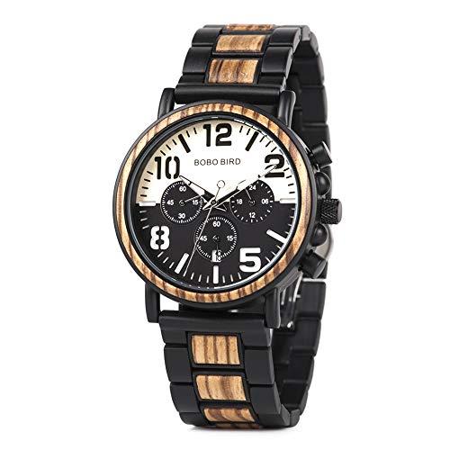 BOBO BIRD Reloj de madera de acero inoxidable para hombre relojes de lujo cronógrafo relojes de cuarzo