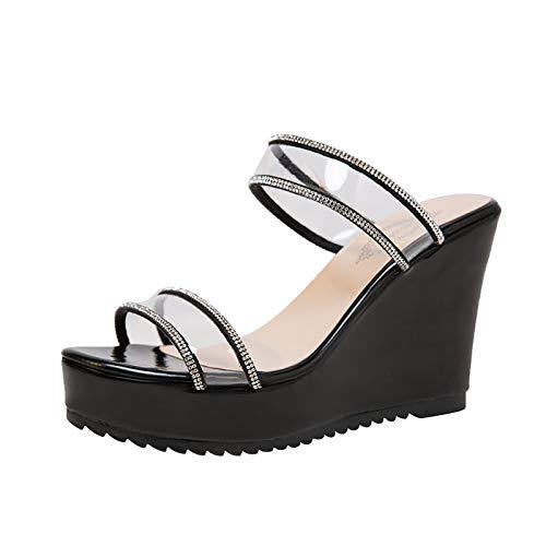 TOPEREUR Damen Hausschuhe Sandalen Sommer Karree High Heels Schuhe Transparente Pumps Jelly Beach Flip Flops