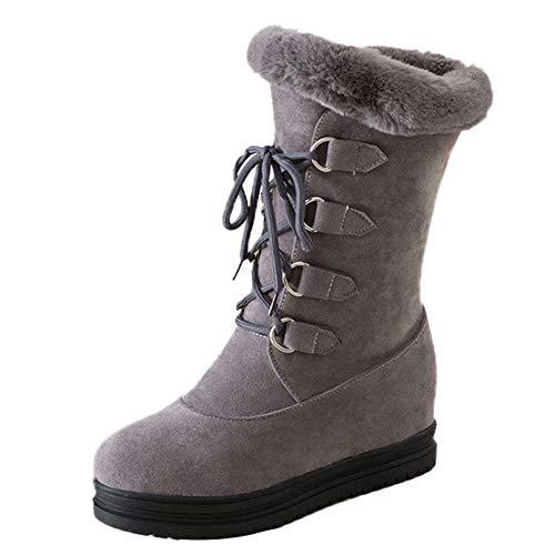 Mode Frauen Runde Kappe Schneeschuhe Damen Lässig Warm Halten Plattform Dicken Unteren Schuh Schnürstiefel